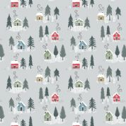 Lewis & Irene - Snow Day - 5965 - Trees & Houses on Pale Grey, Pearlescent - C36.1 - Cotton Fabric